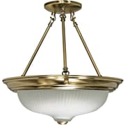 Satco Incandescent 3-Light Antique Brass Semi-Flush Mount with Frosted Swirl Glass Shades (STL-SAT602429)