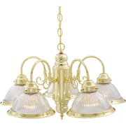 Satco Incandescent 5-Light Polished Brass Chandelier with Clear Ribbed Shades Glass Shades (STL-SAT762819)