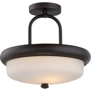 Satco LED 2-Light Mahogany Bronze Semi-Flush Mount with Etched Opal Glass Shades (STL-SAT324147)