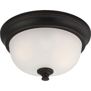 Satco Incandescent 2-Light Sudbury Bronze Flush Mount with Frosted Glass Shades (STL-SAT656903)