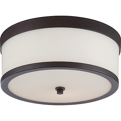 Satco Incandescent 2-Light Venetian Bronze Flush Mount with Etched Opal Glass Shades (STL-SAT655760)