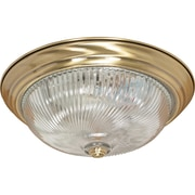 Satco Incandescent 3-Light Antique Brass Flush Mount with Clear Swirl Glass Shades (STL-SAT602313)