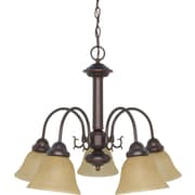 Satco Incandescent 5-Light Mahogany Bronze Chandelier with Champagne Linen Shades (STL-SAT612510)
