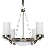 Satco Incandescent 6-Light Brushed Nickel Chandelier with Opal White Glass Shades (STL-SAT606076)