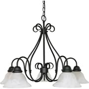 Satco Incandescent 5-Light Textured Black Chandelier with Alabaster Swirl Glass Shades (STL-SAT603815)