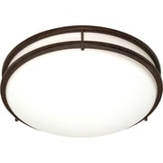 Satco CFL 3-Light Old Bronze Flush Mount with White Plastic Shades (STL-SAT609107)