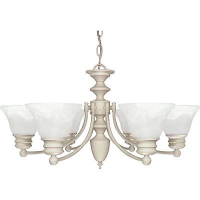 Satco Incandescent 6-Light Textured White Chandelier with Alabaster Bell Glass Shades (STL-SAT603594)