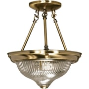 Satco Incandescent 2-Light Antique Brass Semi-Flush Mount with Clear Swirl Glass Shades (STL-SAT602320)