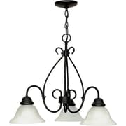 Satco Incandescent 3-Light Textured Black Chandelier with Alabaster Swirl Glass Shades (STL-SAT603785)