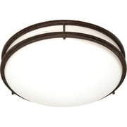 Satco CFL 3-Light Old Bronze Flush Mount with White Plastic Shades (STL-SAT609084)