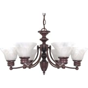Satco Incandescent 6-Light Old Bronze Chandelier with Alabaster Bell Glass Shades (STL-SAT603587)