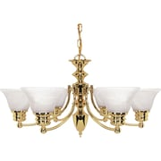 Satco Incandescent 6-Light Polished Brass Chandelier with Alabaster Bell Glass Shades (STL-SAT603570)