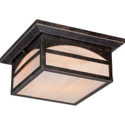 Satco Incandescent 2-Light Umber Bronze Flush Mount with Honey Stained Glass Shades (STL-SAT656569)
