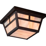 Satco Incandescent 2-Light Claret Bronze Flush Mount with Honey Stained Glass Shades (STL-SAT656767)