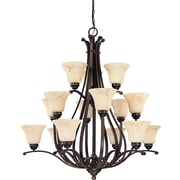 Satco Incandescent 15-Light Copper Espresso Chandelier with Honey Marble Glass Shades (STL-SAT614040)