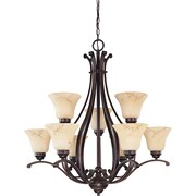 Satco Incandescent 9-Light Copper Espresso Chandelier with Honey Marble Glass Shades (STL-SAT614033)