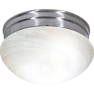 Satco CFL 2-Light Brushed Nickel Flush Mount with Alabaster Mushroom Glass Shades (STL-SAT626357)