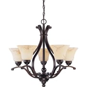 Satco Incandescent 5-Light Copper Espresso Chandelier with Honey Marble Glass Shades (STL-SAT614026)