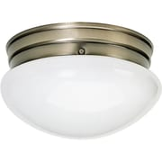 Satco Incandescent 2-Light Antique Brass Flush Mount with White Mushroom Glass Shades (STL-SAT779244)