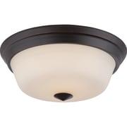 Satco LED 2-Light Mahogany Bronze Flush Mount with Satin White Glass Shades (STL-SAT323737)