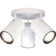 Satco Halogen 3-Light White Flush Mount with Straight Cylinder Aluminum Shades (STL-SAT764226)