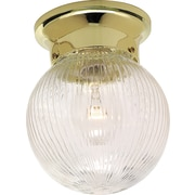 Satco Incandescent 1-Light Polished Brass Flush Mount with Clear Ribbed Glass Shade (STL-SAT762567)