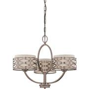 Satco Incandescent 3-Light Hazel Bronze Chandelier with Khaki Fabric Shades Fabric (STL-SAT647246)