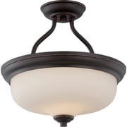 Satco LED 2-Light Mahogany Bronze Semi-Flush Mount with Etched Opal Glass Shades (STL-SAT323942)
