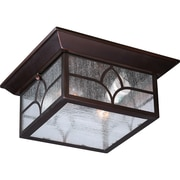 Satco Incandescent 2-Light Claret Bronze Flush Mount with Clear Seed Glass Shades (STL-SAT656460)