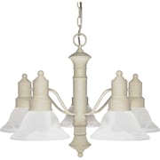 Satco Incandescent 5-Light Textured White Chandelier with Alabaster Bell Glass Shades (STL-SAT601958)