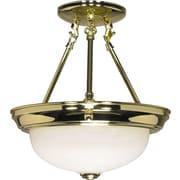 Satco Incandescent 2-Light Polished Brass Semi-Flush Mount with Alabaster Glass Shades (STL-SAT602160)