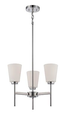 Satco Incandescent 3-Light Polished Nickel Chandelier with Satin White Glass Shades (STL-SAT652158)