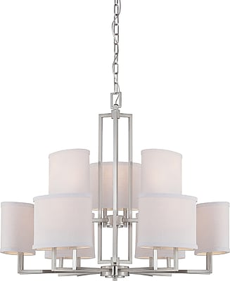 Satco Incandescent 9-Light Brushed Nickel Chandelier with Slate Gray Fabric Shades (STL-SAT647598)