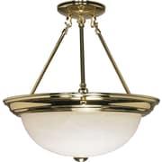 Satco Incandescent 3-Light Polished Brass Semi-Flush Mount with Alabaster Glass Shades (STL-SAT602184)