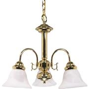 Satco Incandescent 3-Light Polished Brass Chandelier with Alabaster Bell Glass Shades (STL-SAT601866)