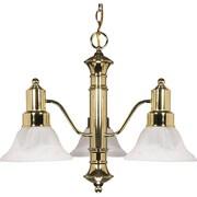 Satco Incandescent 3-Light Polished Brass Chandelier with Alabaster Bell Glass Shades (STL-SAT601941)