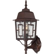 Satco Incandescent 1-Light Rustic Bronze Wall Lantern with Clear Water Glass Shade (STL-SAT649257)