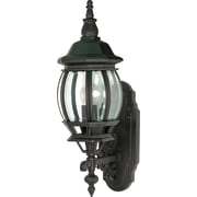 Satco Incandescent 1-Light Textured Black Wall Lantern with Clear Beveled Panels Glass Shade (STL-SAT608872)