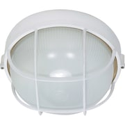 Satco Incandescent 1-Light Semi-Gloss White Wall Lantern with Frosted Diffuser Glass Shade (STL-SAT605185)