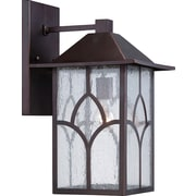Satco Incandescent 1-Light Claret Bronze Wall Lantern with Clear Seed Glass Shade (STL-SAT656439)