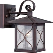Satco Incandescent 1-Light Classic Bronze Wall Lantern with Clear Seed Glass Shade (STL-SAT656118)