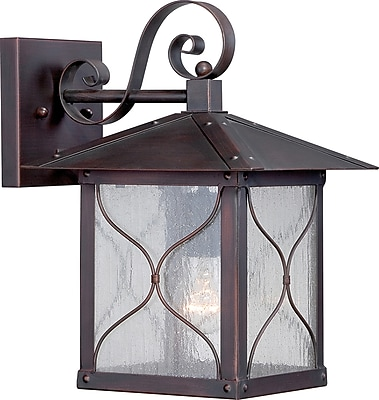 Satco Incandescent 1-Light Classic Bronze Wall Lantern with Clear Seed Glass Shade (STL-SAT656125)