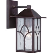 Satco Incandescent 1-Light Claret Bronze Wall Lantern with Clear Seed Glass Shade (STL-SAT656415)