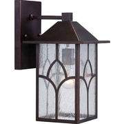 Satco Incandescent 1-Light Claret Bronze Wall Lantern with Clear Seed Glass Shade (STL-SAT656422)