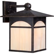 Satco Incandescent 1-Light Umber Bronze Wall Lantern with Honey Stained Glass Shade (STL-SAT656538)