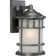 Satco Incandescent 1-Light Aged Silver Wall Lantern with Frosted Seed Glass Shade (STL-SAT656323)