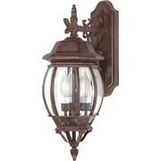 Satco Incandescent 3-Light Old Bronze Wall Lantern with Clear Beveled Panels Glass Shades (STL-SAT608926)