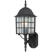 Satco Incandescent 1-Light Textured Black Wall Lantern with Frosted Glass Shade (STL-SAT649035)