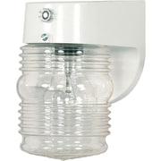 Satco Incandescent 1-Light White Wall Lantern with Clear Mason Jar W Photoelectric Sensor Plastic Shade (STL-SAT778629)