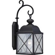 Satco Incandescent 1-Light Textured Black Wall Lantern with Clear Seed Glass Shade (STL-SAT656224)